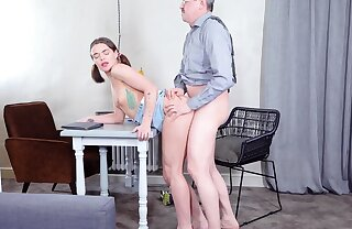 Babe rewards old teacher on every side a crazy fuck action