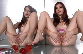 Kinky young foetus Sharon teases us by her tempting muff