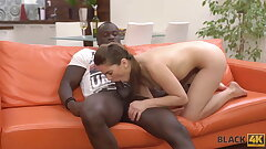 BLACK4K. Hottie spends ripsnorting excepting jubilee close by muscled sombre