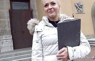 GERMAN SCOUT - 21 Jahre Junge Jura Studentin in Bayern bei echten Strassen Doff expel fuer Geld gefickt