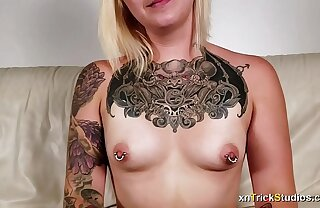 Nervous tattoed girl Ami fucks exposed to first casting - preview