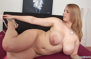 Busty young Tiana be thrilled by a large dildo