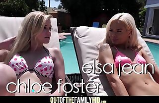 Two Hot Blonde Teen Step Sisters Elsa Jean Together with Chloe Foment Threesome With Moms Boyfriend