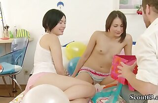 Bro get a Fuck to Birthday from a handful of Petite Teen Lucy and Cat