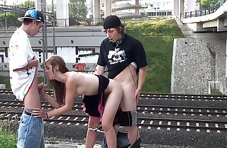 Cum in the mouth of a hot blonde teen piece of baggage in a public street sex threesome by a procession with 2 young guys prosecution blowjob cock sucking and vaginal penetration sexual intercourse with unintended spectators recognizing this crazy screwing endanger